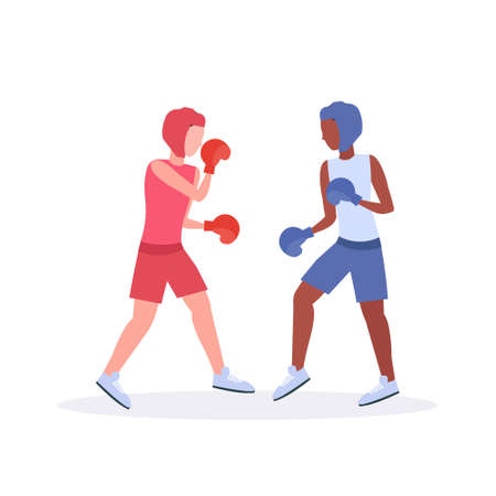 two boxers exercising thai boxing couple mix race fighters in gloves and protective helmets practicing together training concept fight club healthy lifestyle concept flat white background vector illustration