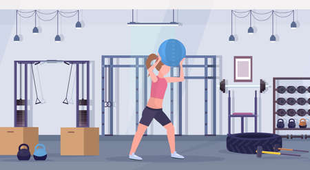 sporty woman doing crossfit exercises with medicine leather ball girl training cardio workout concept modern gym health studio club interior horizontal full length vector illustration