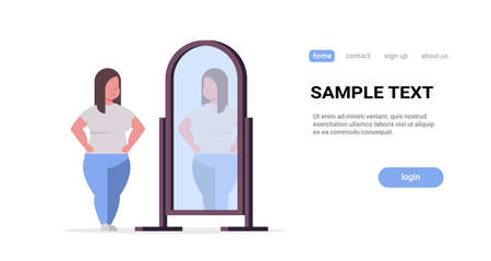 sad overweight woman looking at herself reflection in mirror obese girl over size obesity concept flat full length horizontal copy space white background vector illustration Çizim