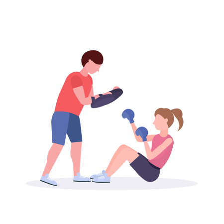 sportswoman boxer doing boxing exercises with personal trainer girl fighter in blue gloves working out on floor fight club healthy lifestyle concept flat white background vector illustration