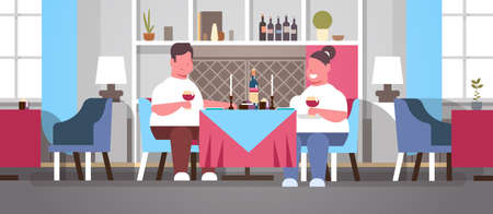 fat overweight couple drinking wine sitting cafe table over size obese man woman romantic love dating concept modern restaurant interior flat horizontal vector illustration