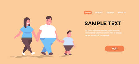 over size family walking together overweight father mother and son having fun holding hands unhealthy lifestyle obesity concept full length copy space horizontal vector illustration