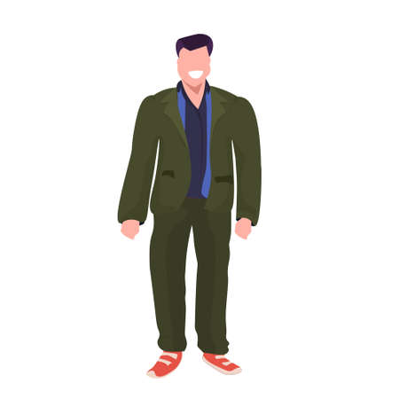 fat obese man standing pose smiling overweight casual guy obesity concept male cartoon character full length flat white background vector illustration
