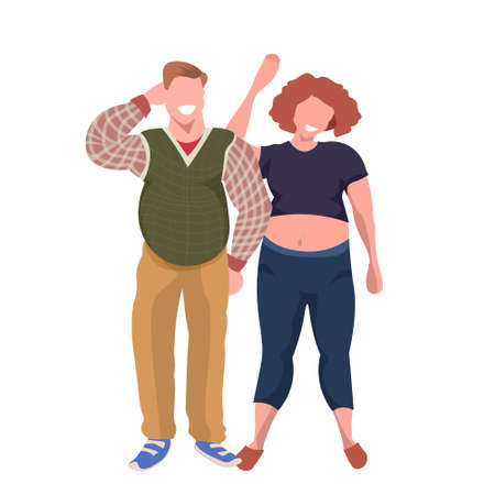 fat obese couple standing together smiling overweight casual man woman obesity concept male female cartoon characters full length flat white background vector illustration Illustration