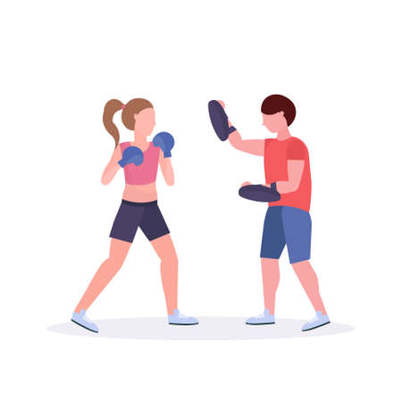 sportswoman boxer exercising thai boxing with male trainer woman fighter in blue gloves practicing at the fight club healthy lifestyle concept flat white background vector illustration Çizim