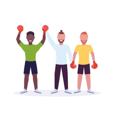 referee announcing winner after boxing match african american boxer in red boxing gloves raised hands fighter celebrating fight victory white background cartoon characters full length vector illustration