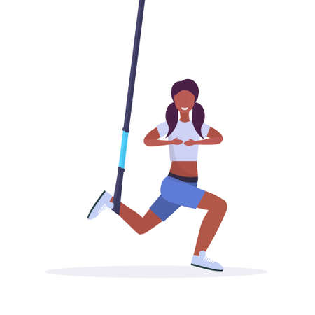 sporty woman doing squats exercises with suspension fitness straps elastic rope african american girl training in gym crossfit cardio workout concept flat white background full length vector illustration