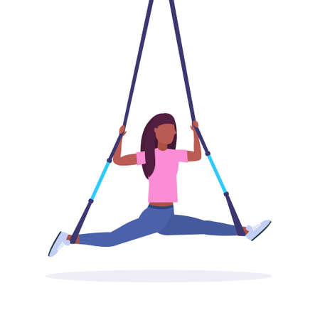 sporty woman doing splits exercises with suspension fitness straps elastic rope african american girl training in gym crossfit cardio workout concept flat white background full length vector illustration