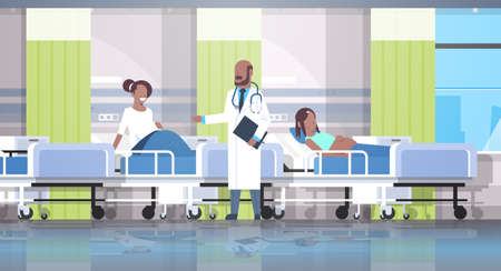 male doctor visiting and examining african american pregnant women patients lying in hospital bed medical consultation pregnancy concept modern clinic ward interior flat horizontal vector illustration Illustration