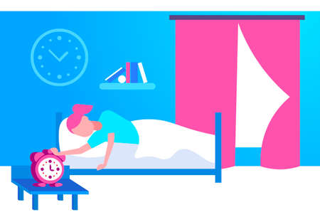 young woman sleeping in bed girl rise hand to turn off alarm clock in bedroom interior wake up concept female cartoon character flat horizontal vector illustration Illustration