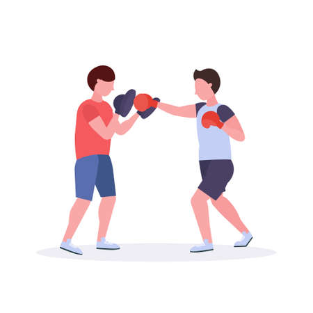 two men boxers exercising thai boxing in red gloves couple fighters practicing at the fight club healthy lifestyle concept flat white background vector illustration