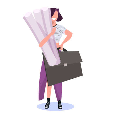 woman architect holding rolled up blueprints happy female engineer panning project construction industry concept professional occupation full length flat vector illustration