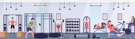 sporty people doing exercises men women working out together on training apparatus in gym workout healthy lifestyle concept modern health club studio interior horizontal banner vector illustration