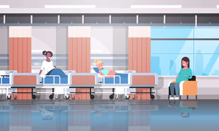mix race pregnant women patients sitting in bed and armchair girls discussing communication pregnancy and motherhood concept modern clinic ward interior flat horizontal vector illustration Illustration