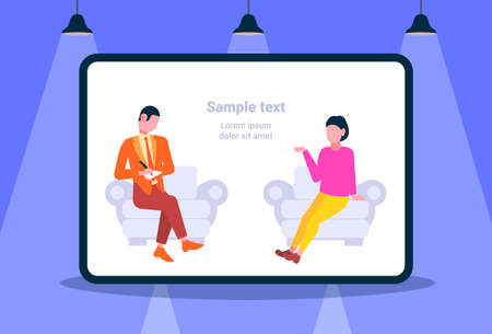 businessman taking notes asking questions and listening to candidate woman answers sitting in armchair job interview concept horizontal full length flat copy space vector illustration Illustration
