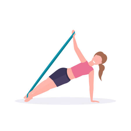 sporty woman doing exercises with resistance band girl training in gym stretching workout healthy lifestyle concept flat white background vector illustration 向量圖像