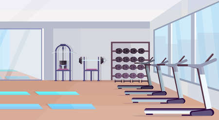 fitness hall studio workout equipment healthy lifestyle concept empty no people gym interior with mats training apparatus dumbbells mirror and windows horizontal vector illustration