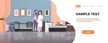 husband with pregnancy wife holding newborn baby son standing near crib happy family parenthood concept modern home bedroom interior flat full length copy space vector illustration