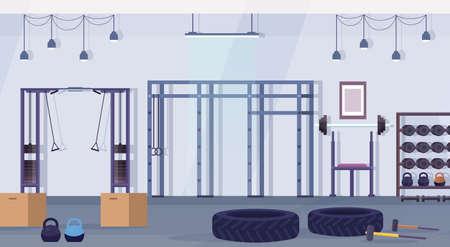 studio de club de santé crossfit avec équipement d'entraînement concept de mode de vie sain vide aucun peuple salle de gym appareil d'entraînement intérieur illustration vectorielle horizontale Vecteurs