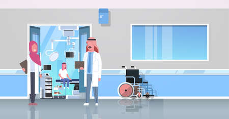 arab doctors discussing in hospital corridor with wheelchair open door to surgery room arabic man sitting operating table modern clinic interior flat full length horizontal banner vector illustration