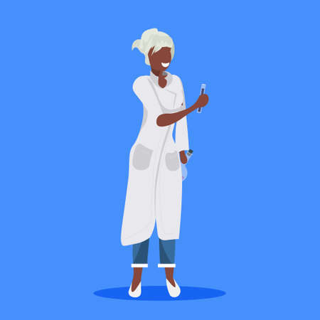 female scientist holding test tubes woman laboratory technician in white uniform african american medical worker professional occupation concept blue background flat full length vector illustration
