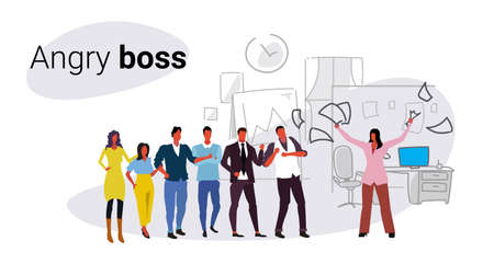 unsatisfied woman boss throwing paper documents screaming on frustrated workers bad job concept angry employer shouting employees co-working office interior sketch horizontal vector illustration