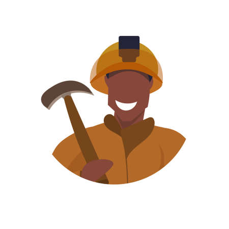 male miner holding pick axe face avatar happy man in orange uniform professional occupation concept coal industry worker portrait flat white background vector illustration