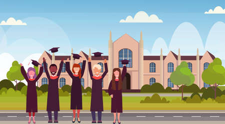 group of mix race students in gown throwing graduation caps in the air standing at campus yard in front of university building exterior education concept flat horizontal full length vector illustration