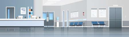 Recepción del hospital, sala de espera con mostrador, asientos, puertas y ascensor, vacío, sin gente, clínica médica, interior, horizontal, banner, panorama, plano, vector, ilustración Ilustración de vector