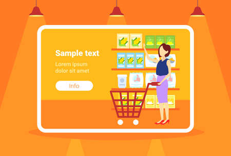 woman customer carrying trolley cart choosing food big grocery shop supermarket interior girl buyer super market shopping concept full length flat horizontal copy space vector illustration