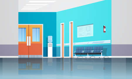 hospital corridor waiting hall with information board chairs lift and doors empty no people clinic interior flat horizontal vector illustration