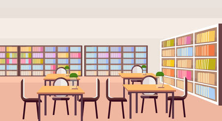 modern library study area bookshelves with books empty no people reading room interior workplace desks education knowledge concept flat horizontal vector illustration