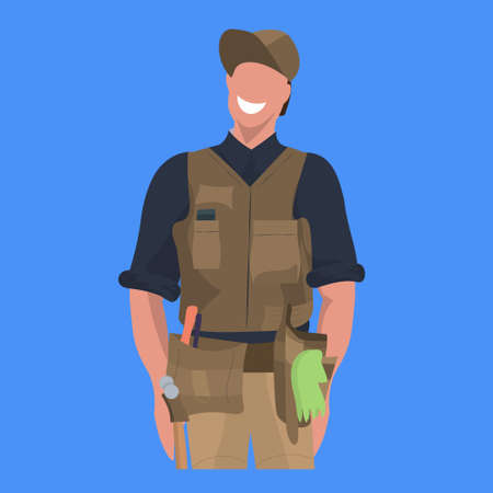 male master or repairman mechanic repair service worker professional occupation concept happy man in uniform cartoon character portrait flat blue background vector illustration Ilustrace