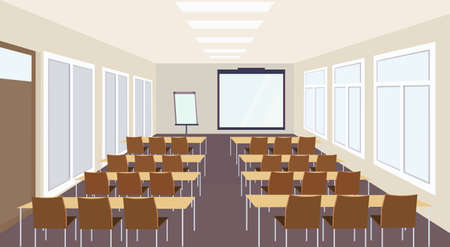 modern meeting conference presentation classroom interior with desks chairs and blank screen lecture seminar hall large sitting capacity empty no people horizontal vector illustration