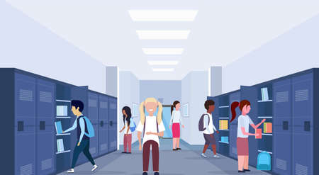 mix race schoolchildren group visiting their lockers modern school corridor interior education concept horizontal full length flat vector illustration