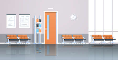 hospital corridor waiting hall with information board chairs and doors empty no people clinic interior flat horizontal banner vector illustration Hình minh hoạ