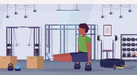 sports man doing sit-ups exercises with kettlebell african american guy training cardio workout concept modern gym health studio club interior horizontal full length vector illustration Ilustração