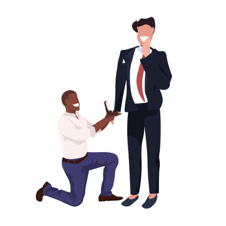 african american man kneeling holding engagement ring proposing boyfriend marry him couple men homosexual mariage offer concept male cartoon characters full length flat vector illustration Stock Illustratie