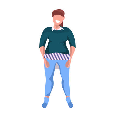 fat obese woman standing pose smiling overweight casual girl obesity concept female cartoon character full length flat white background vector illustration Illusztráció