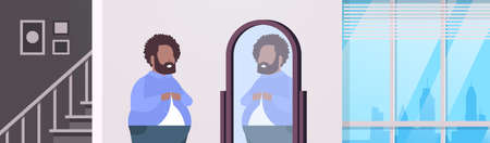 sad overweight man looking at himself reflection in mirror african american over size guy buttoning shirt unhealthy lifestyle obesity concept modern apartment interior flat portrait horizontal vector illustration