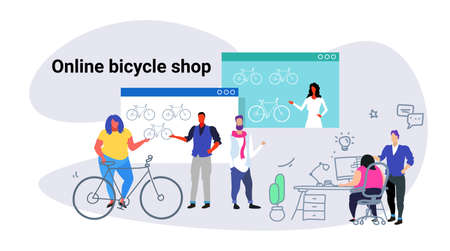 people doing online shopping bicycle web shop concept men women choosing new bike using computer application e-commerce sketch doodle horizontal vector illustration Illustration