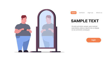 sad overweight man looking at himself reflection in mirror big unhappy guy over size obesity concept flat full length horizontal copy space white background vector illustration