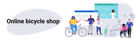 people doing online shopping bicycle web shop concept men women choosing new bike using computer application e-commerce sketch doodle horizontal banner vector illustration
