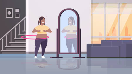 overweight woman doing gymnastic rotating workout with hula hoop looking at reflection in mirror african american girl weight loss concept modern home apartment interior full length horizontal vector illustration