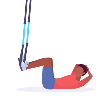 sporty man doing sit-ups abdominal exercises with suspension fitness straps elastic rope african american guy training in gym crossfit cardio workout concept flat white background full length vector illustration Ilustração