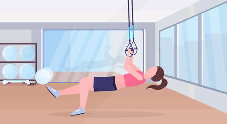 sporty woman doing exercises with suspension fitness straps elastic rope girl training crossfit workout concept modern gym studio interior horizontal flat full length vector illustration