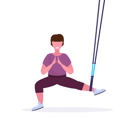 sporty woman doing squats exercises with suspension fitness straps elastic rope girl training in gym crossfit cardio workout healthy lifestyle concept flat white background full length vector illustration Illustration