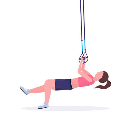 sporty woman doing exercises with suspension fitness straps elastic rope girl training in gym crossfit cardio workout healthy lifestyle concept flat white background full length vector illustration Çizim