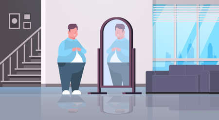 sad overweight man looking at himself reflection in mirror over size guy buttoning shirt unhealthy lifestyle obesity concept modern apartment interior flat full length horizontal vector illustration Illustration