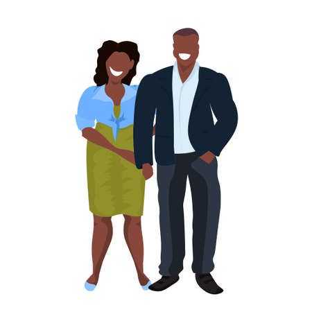 fat obese couple standing together african american overweight man woman obesity concept male female cartoon characters full length flat white background vector illustration